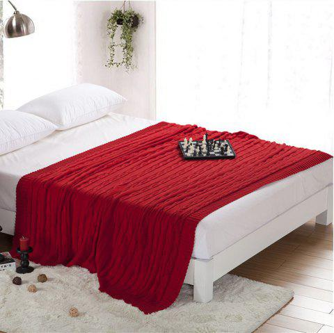 New Products all Cotton Knitting Yarn Leisure Blanket - RED 180CM X 200CM
