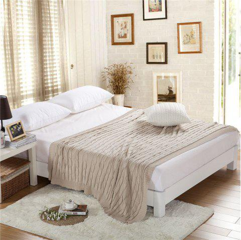 New Products all Cotton Knitting Yarn Leisure Blanket - BEIGE 180CM X 200CM