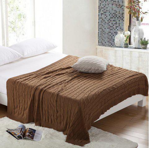 New Products all Cotton Knitting Yarn Leisure Blanket - KHAKI 180CM X 200CM