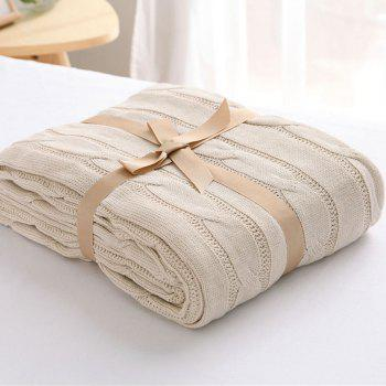 New Products all Cotton Knitting Yarn Leisure Blanket - BEIGE 120CM X 180CM