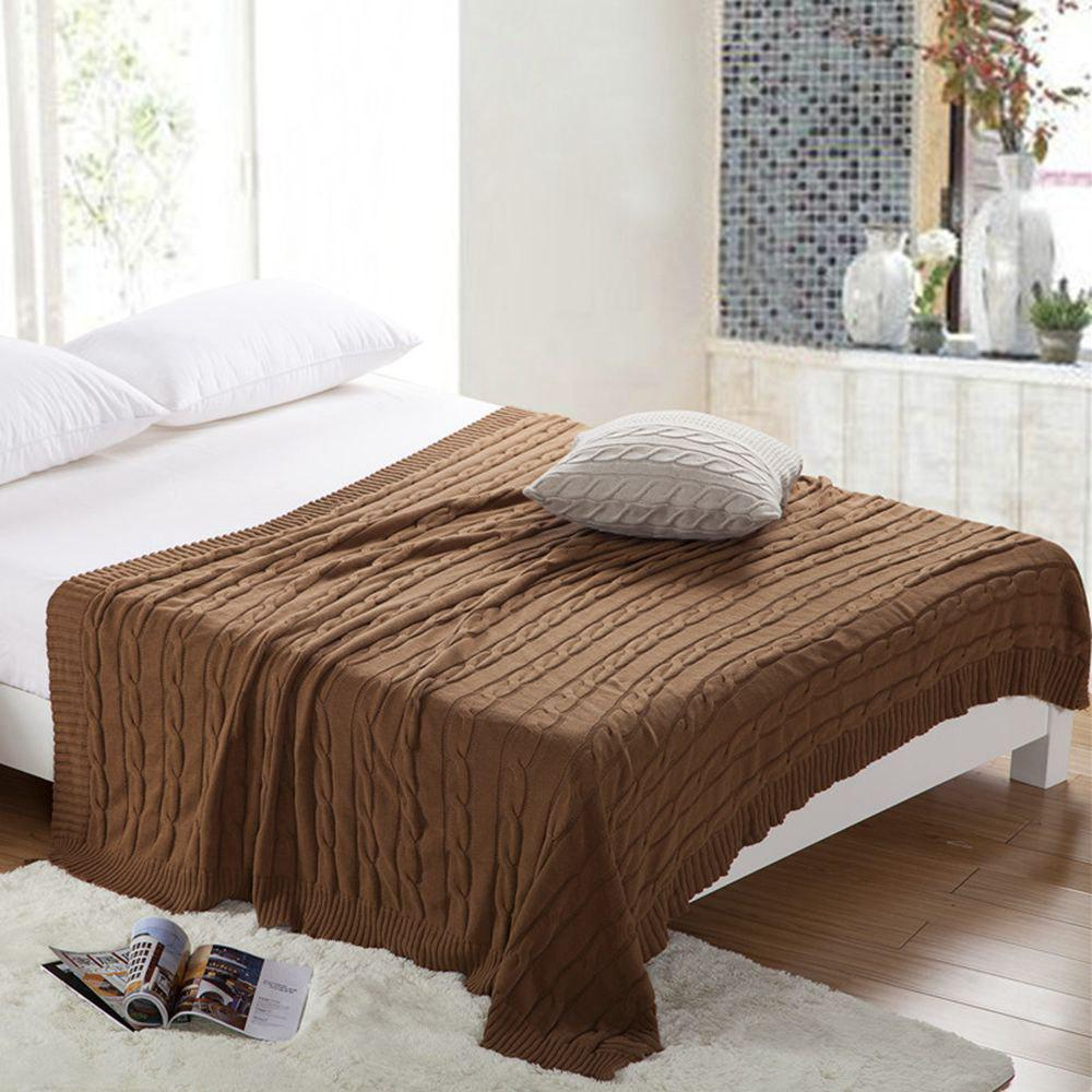New Products all Cotton Knitting Yarn Leisure Blanket - KHAKI 120CM X 180CM