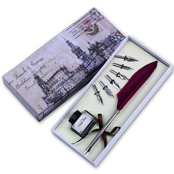 Quill Dip Pen Goose Feather Pen with Black Ink and 6 Nibs Set Gift - BLACK