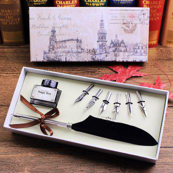 Quill Dip Pen Goose Feather Pen with Black Ink and 6 Nibs Set Gift - BLACK BLACK