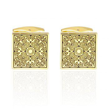 Fashion Golden Square Sleeve Nail Cufflinks - GOLD GOLD