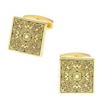 Fashion Golden Square Sleeve Nail Cufflinks - GOLD