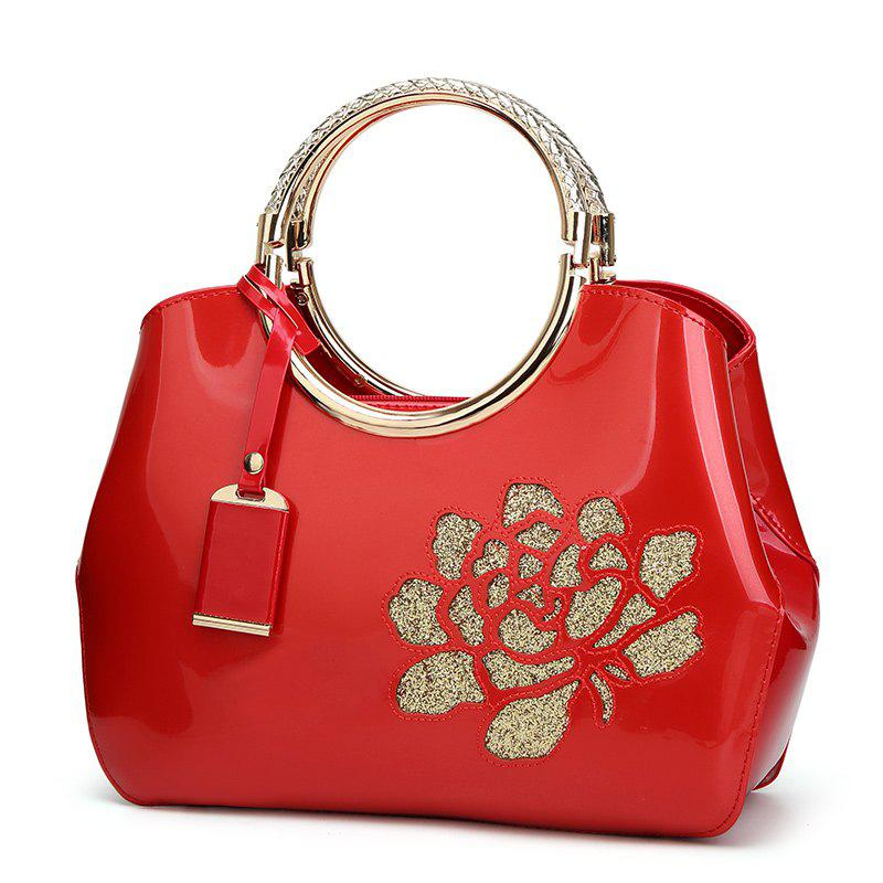 Ladies Casual Light Plastic Sequined Handbag - RED