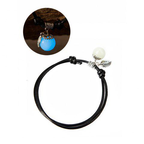 Women Ankle Chain Vintage All Matched Luminous Fashion Accessory YMJL-Black - BLUE LIGHT
