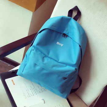 Women's Backpack Solid Color Large Capacity Trendy School Bag - BLUE