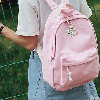 Women's Backpack Fresh Style Preppy All Match Canvas Bag - PINK