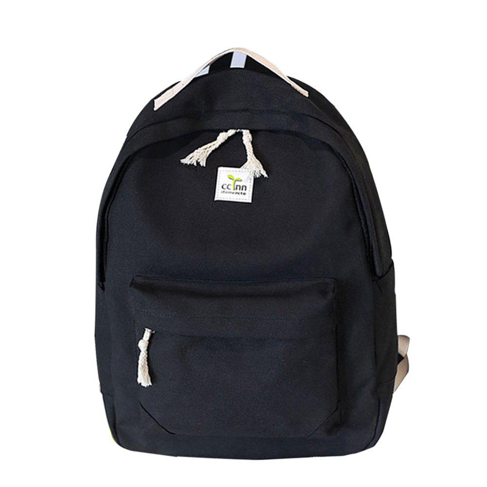 Women's Backpack Fresh Style Preppy All Match Canvas Bag - BLACK