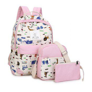 Women's Backpack Trendy Color Block Printing Pattern All Match Bags Set - PINK PINK