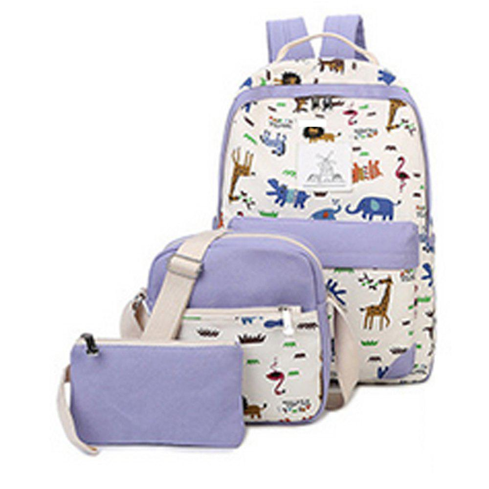 Women's Backpack Trendy Color Block Printing Pattern All Match Bags Set - LIGHT PURPLE