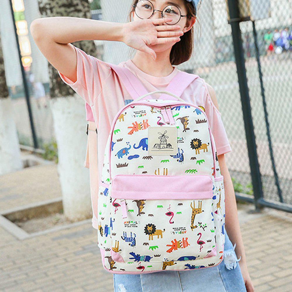 Women's Backpack Trendy Color Block Printing Pattern All Match Bags Set - PINK