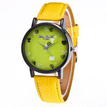 ZhouLianFa New Simple Lychee Leather Strap Ladies Luxury Brand Fashion Quartz Watch - YELLOW YELLOW