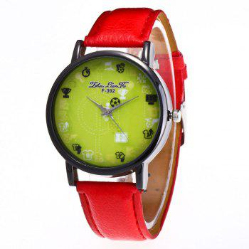 ZhouLianFa New Simple Lychee Leather Strap Ladies Luxury Brand Fashion Quartz Watch - RED RED