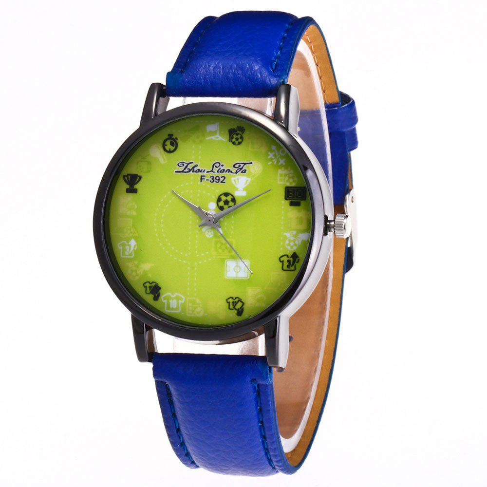 ZhouLianFa New Simple Lychee Leather Strap Ladies Luxury Brand Fashion Quartz Watch - BLUE