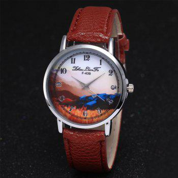 ZhouLianFa New Simple Business Luxury Brand Women'S Lychee Leather Strap Retro Quartz Watch - COFFEE