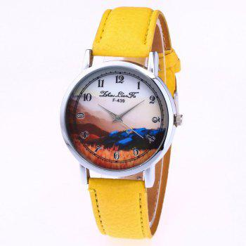 ZhouLianFa New Simple Business Luxury Brand Women'S Lychee Leather Strap Retro Quartz Watch - YELLOW YELLOW