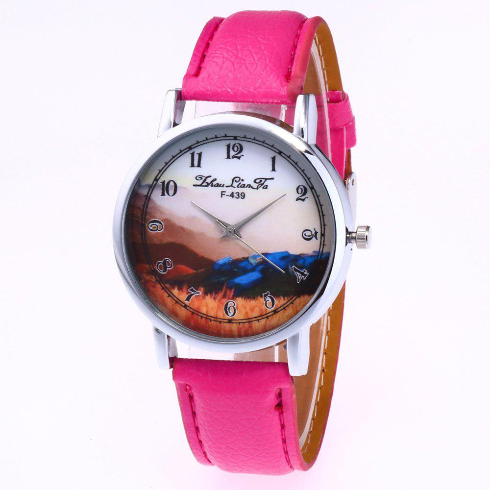 ZhouLianFa New Simple Business Luxury Brand Women'S Lychee Leather Strap Retro Quartz Watch - ROSE RED