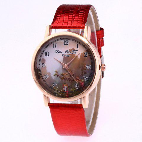 ZhouLianFa New Trend of Sports Crocodile Pattern Quartz Lady Watch - RED
