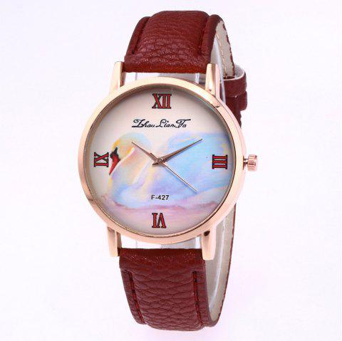 ZhouLianFa New Trend of Business Casual Lychee Quartz Watch - COFFEE