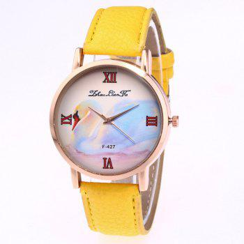 ZhouLianFa New Trend of Business Casual Lychee Quartz Watch - YELLOW YELLOW