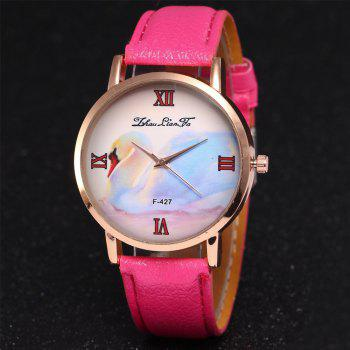ZhouLianFa New Trend of Business Casual Lychee Quartz Watch - ROSE RED