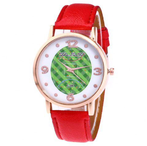 ZhouLianFa New Brand Fashion Trend Lai Chi Pattern Leather Strap Luxury Ladies Quartz Watch - RED