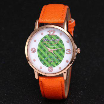 ZhouLianFa New Brand Fashion Trend Lai Chi Pattern Leather Strap Luxury Ladies Quartz Watch -  ORANGE