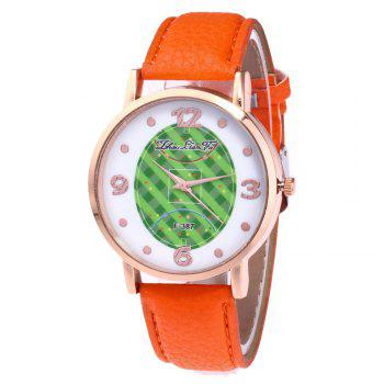 ZhouLianFa New Brand Fashion Trend Lai Chi Pattern Leather Strap Luxury Ladies Quartz Watch - ORANGE ORANGE