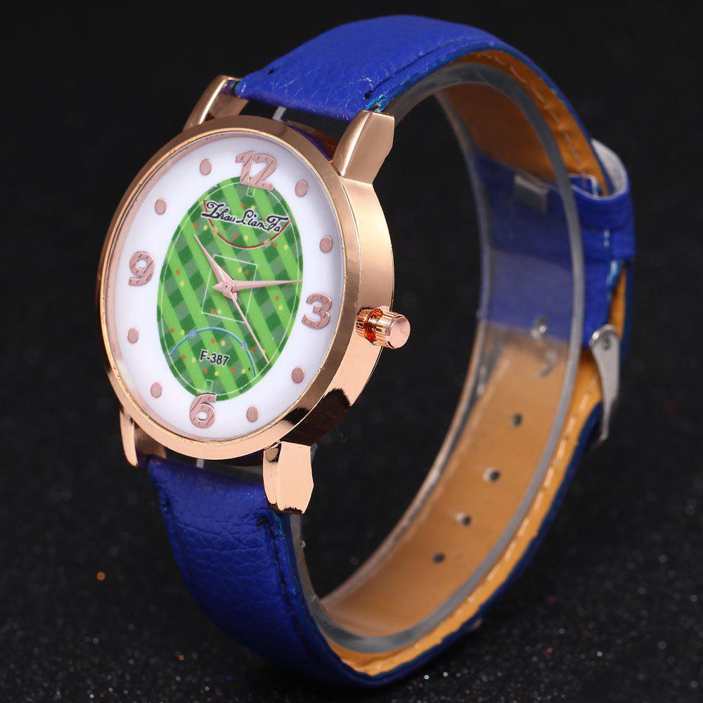 ZhouLianFa New Brand Fashion Trend Lai Chi Pattern Leather Strap Luxury Ladies Quartz Watch - BLUE