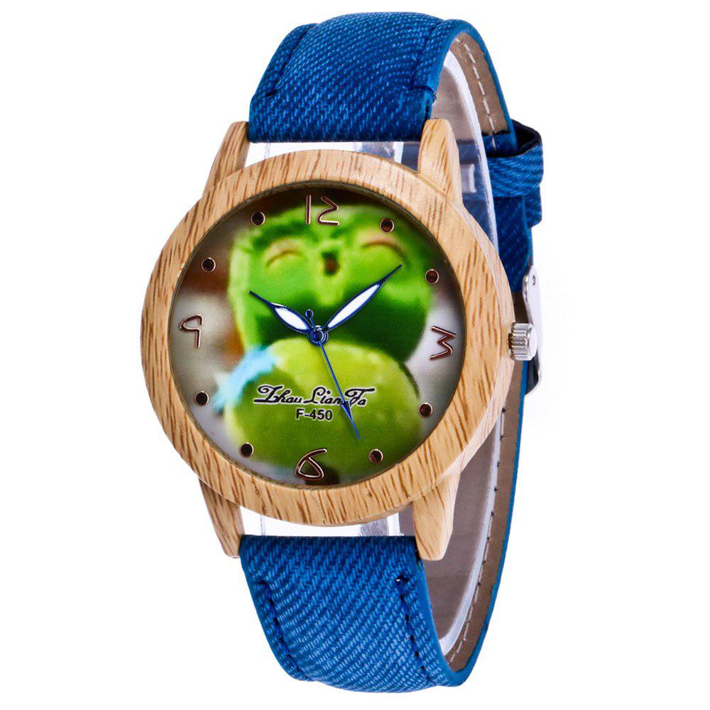 ZhouLianFa New Trend of Outdoor Fashion Wood Grain Denim Canvas Cartoon Fruit Send Quartz Watch - BLUE
