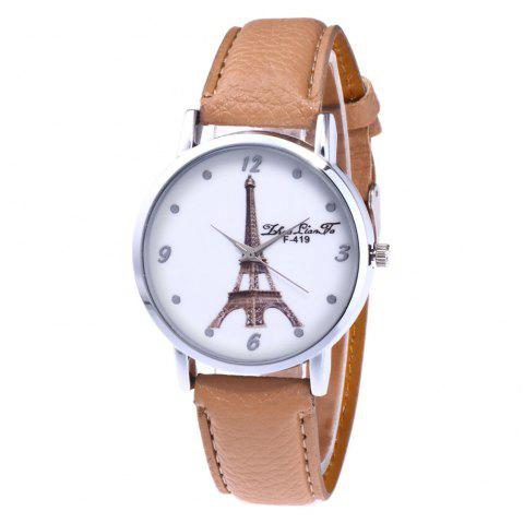 ZhouLianFa New Fashion Trend Lai Chi Pattern Leather Strap Business Casual Ladies Quartz Watch - BEIGE