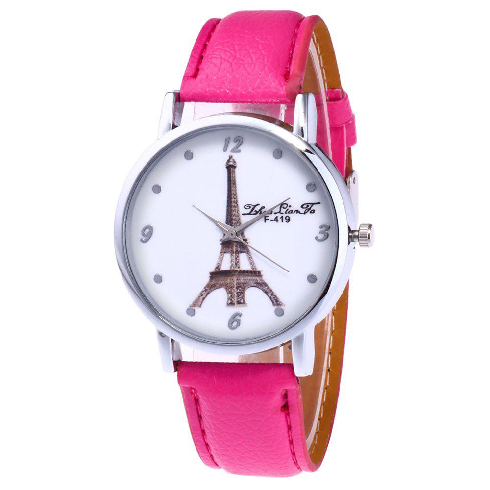 ZhouLianFa New Fashion Trend Lai Chi Pattern Leather Strap Business Casual Ladies Quartz Watch - ROSE RED
