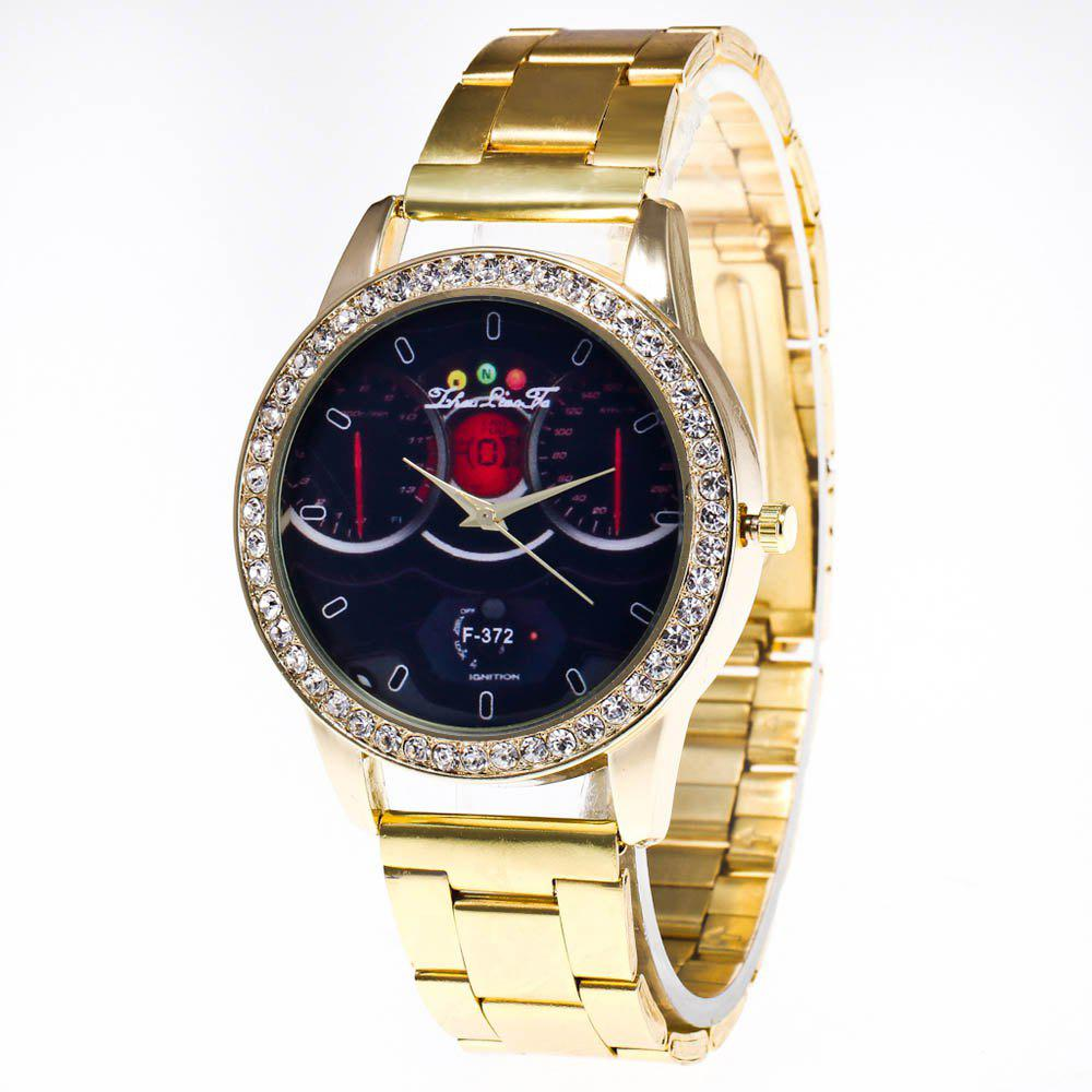 ZhouLianFa Brand Fashion Golden Diamond Band Luxury Ladies Business Vintage Quartz Watch - GOLDEN