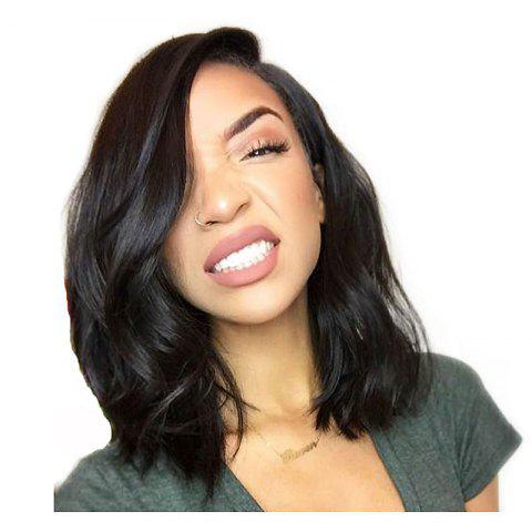 Short Hair Natural Wavy Best Lace Front Synthetic Wig Heat Restaurant - BLACK 14INCH
