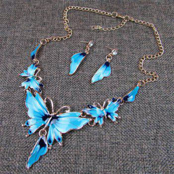 Women Diamond Vintage Butterfly Pendants Necklace with Earrings Choker Jewelry Set -  BLUE