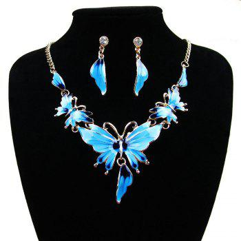Women Diamond Vintage Butterfly Pendants Necklace with Earrings Choker Jewelry Set - BLUE BLUE