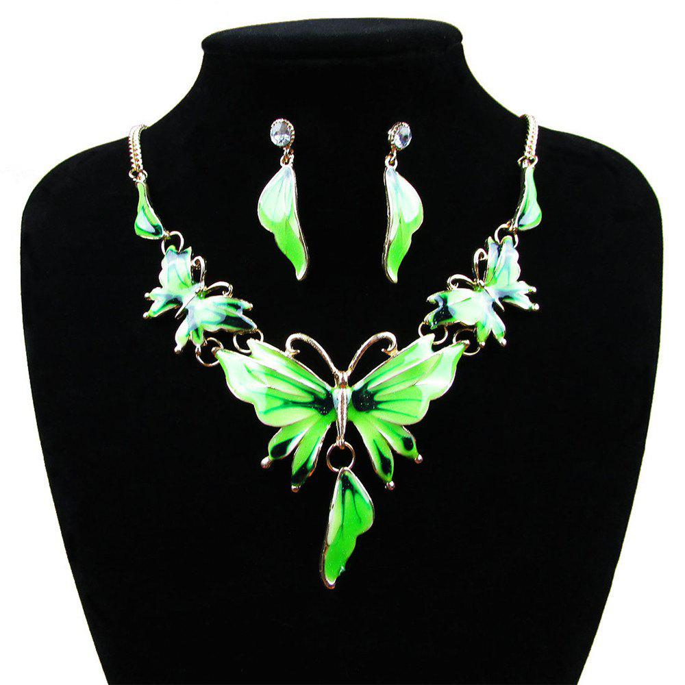 Women Diamond Vintage Butterfly Pendants Necklace with Earrings Choker Jewelry Set - GREEN