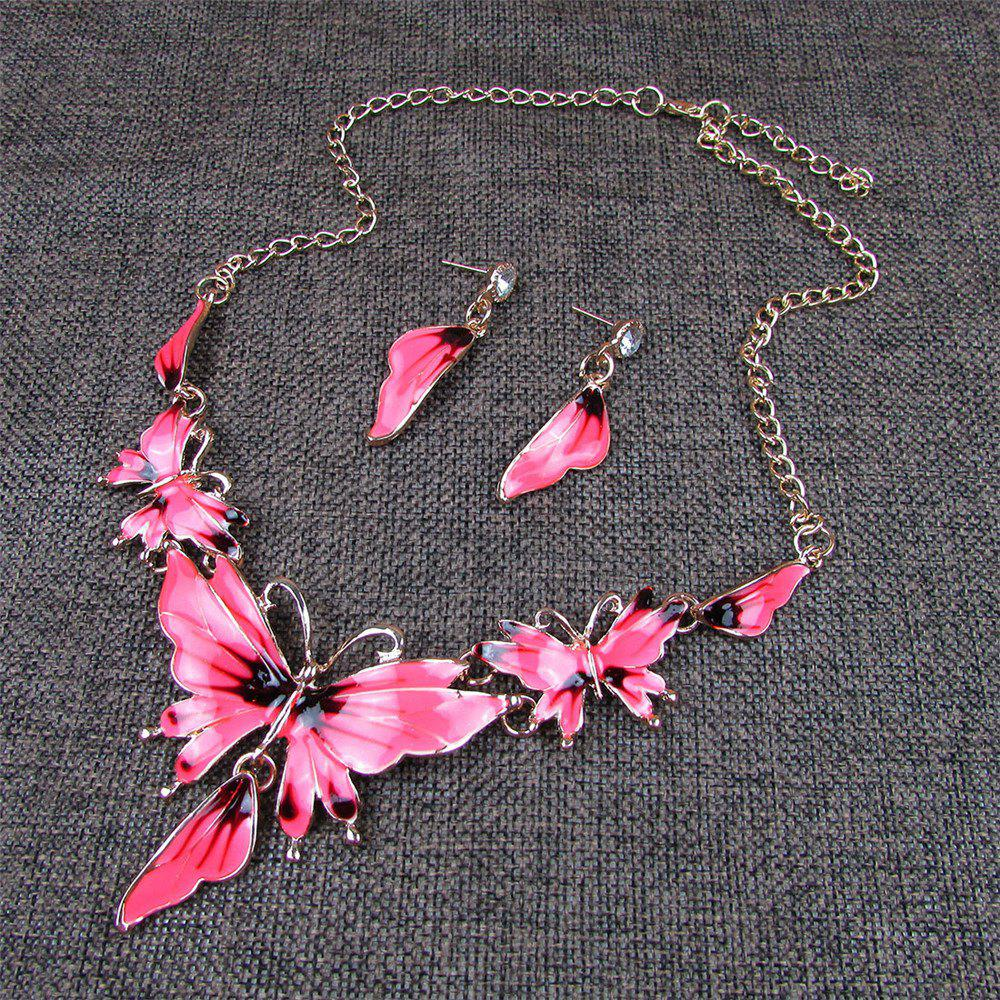 Women Diamond Vintage Butterfly Pendants Necklace with Earrings Choker Jewelry Set - PINK