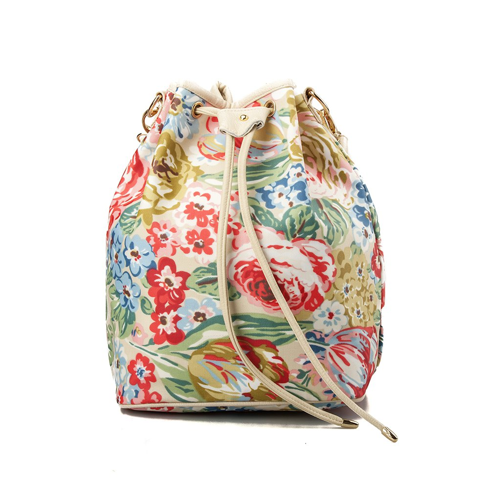 Drawstring Backpack For Women Waterproof Drawstring Sports Bag (Red flower) - COLORFUL