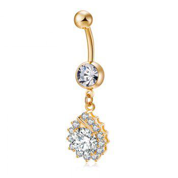 Simplified Water Drop Shaped Zircon Navel Ring