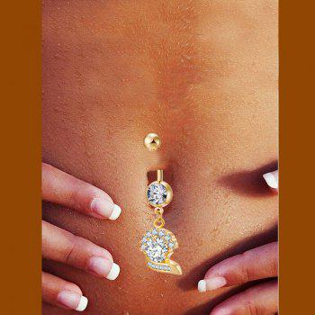 Stylish and Elegant Zircon Navel Ring P0234 -  GOLDEN