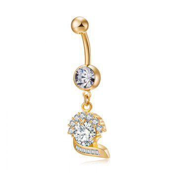 Stylish and Elegant Zircon Navel Ring P0234 - GOLDEN GOLDEN