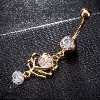 Fashion  Petal Zircon Navel Ring P0235 - GOLDEN