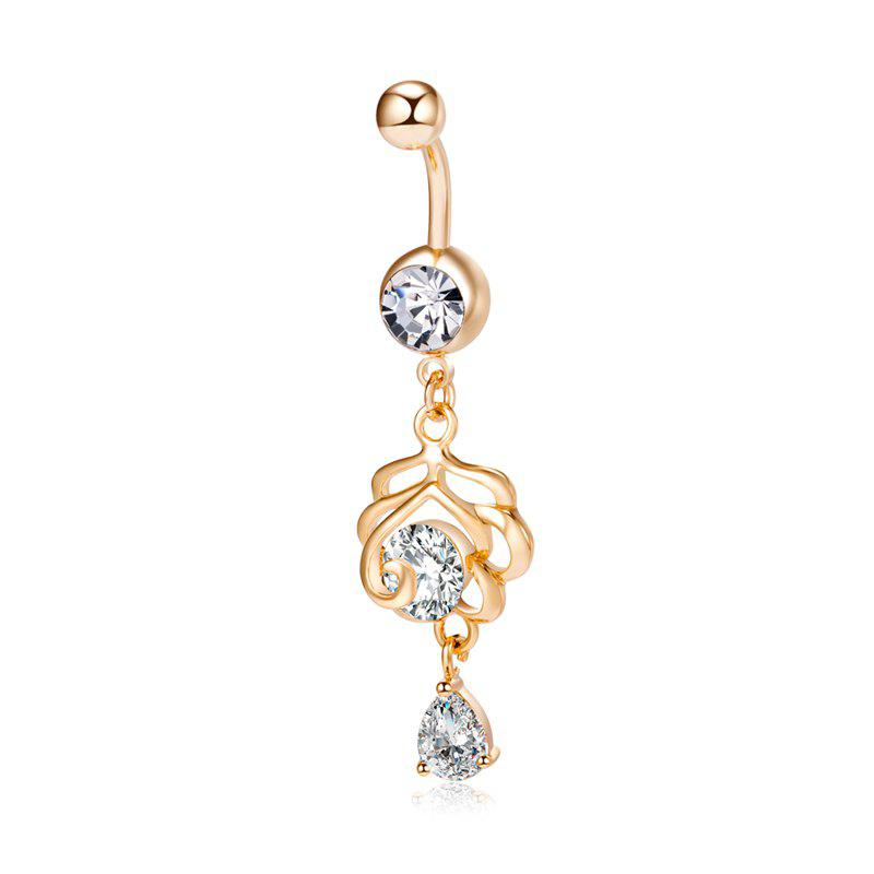 Mode Pétale Zircon Navel Ring P0235 - Or