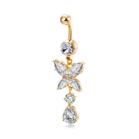Mode grand pétale Zircon Navel Ring P0237 - Or