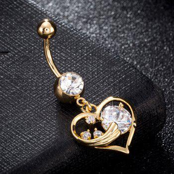 Fashionable Pierced Heart Shaped Zircon Navel Ring P0238 - GOLDEN
