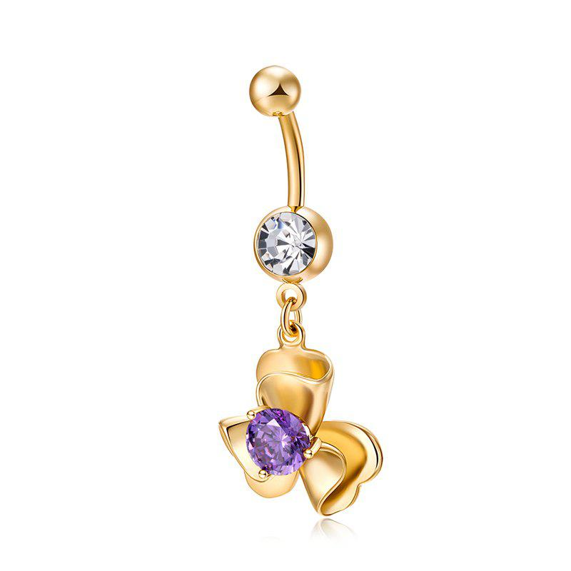 Fashion Three-dimensional Petals Zircon Navel Ring P0239 - PURPLE