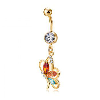 Elegant Butterfly Zircon Navel Ring P0240 - COLORFUL COLORFUL